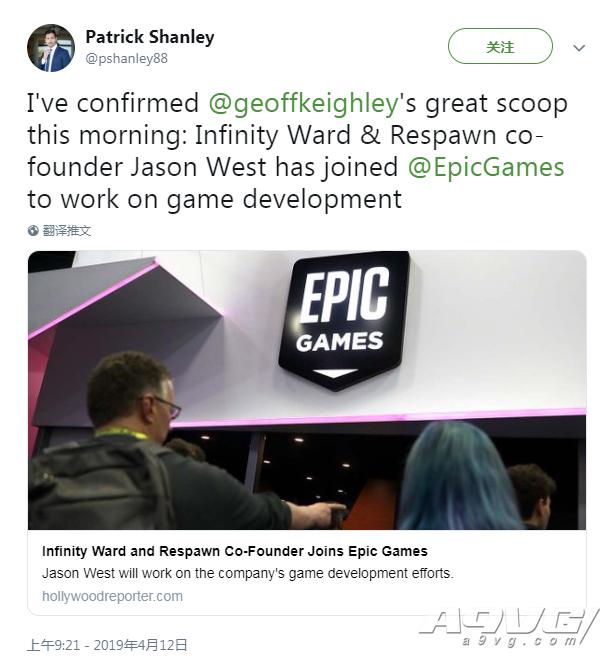 前Infinity Ward联合创始人加入Epic 正在开发新游戏