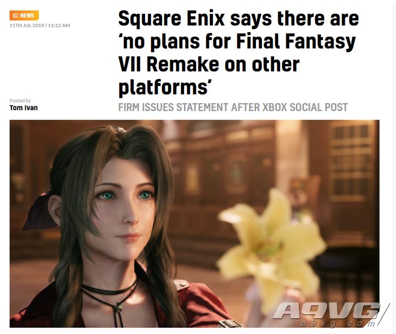 SE发言人表示《最终幻想7 重制版》没有登陆其他平台的计划