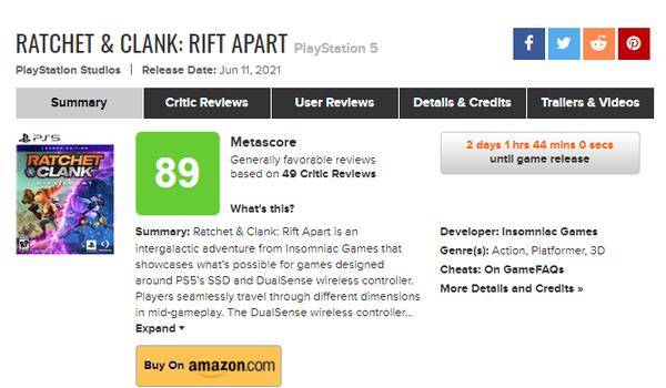《瑞奇与叮当 时空跳转》媒体评分解禁 IGN 9 GS 9分 MC均分89
