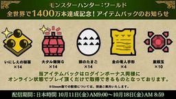《怪物獵人 世界》將發放新一輪限時獎勵 慶祝銷量突破1400萬
