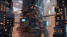 国外玩家在《我的世界》里面创造赛博朋克世界