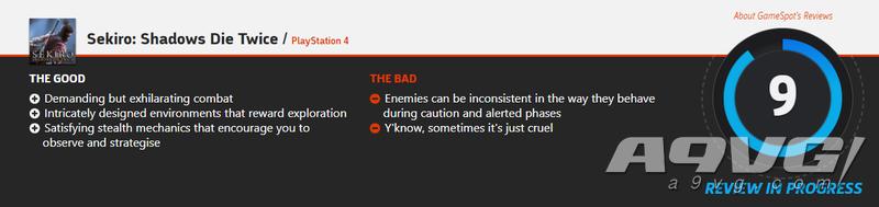《只狼 影逝二度》全球媒体评分现已解禁 IGN 9.5 GS 9分