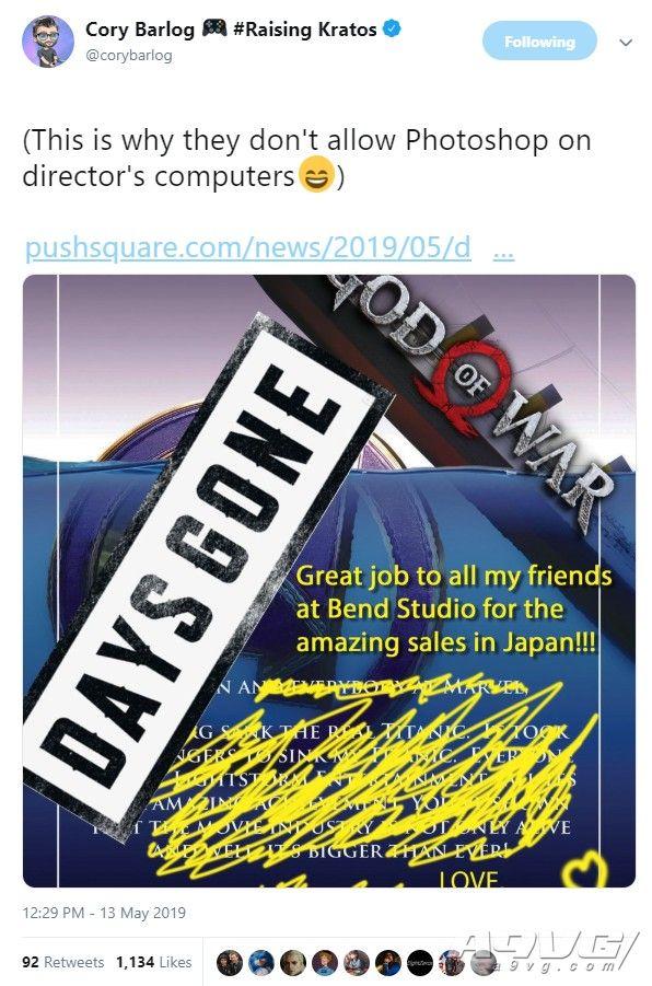 《往日不再》日本销量超过《战神》 Cory Barlog发文祝贺