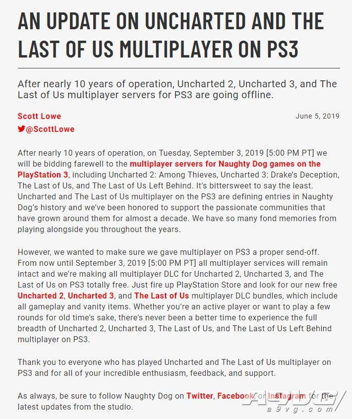 顽皮狗将关闭《最后生还者》等PS3游戏的多人服务器