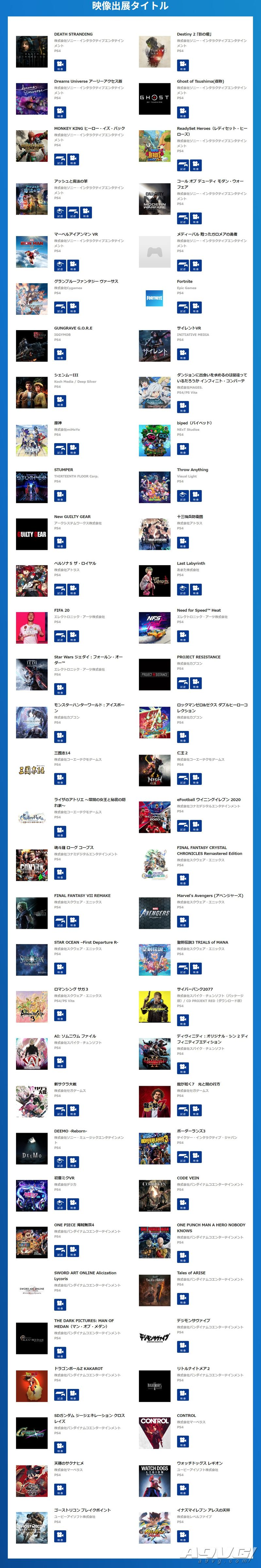 SIE公开TGS2019出展游戏阵容 FF7R仁王2对马岛之魂等