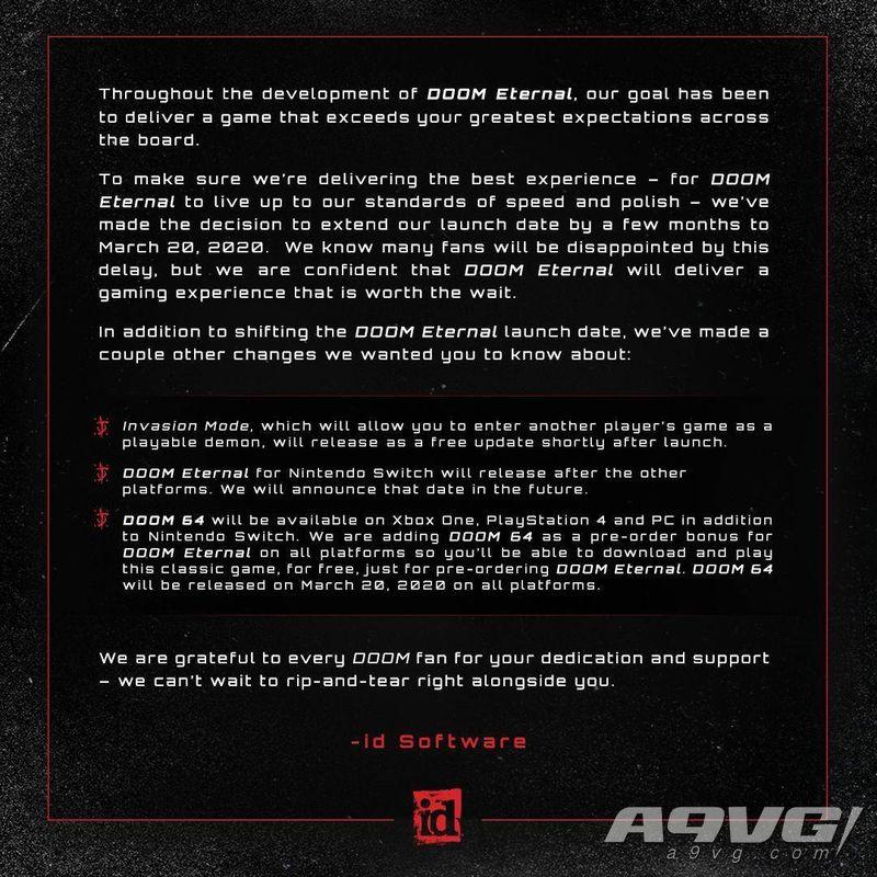 《毁灭战士 永恒》延期至2020年3月20日发售 