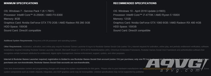 《荒野大镖客 救赎2》PC配置需求公布 需要150G硬盘空间