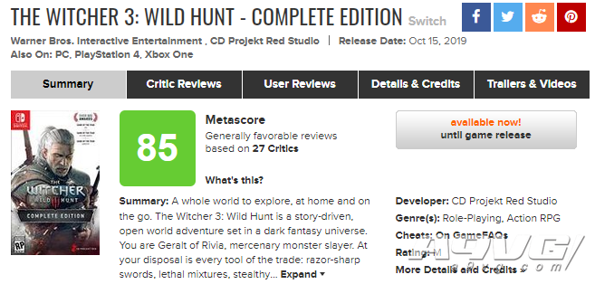 Switch《巫师3 狂猎 完整版》媒体评分现已解禁 MC均分85