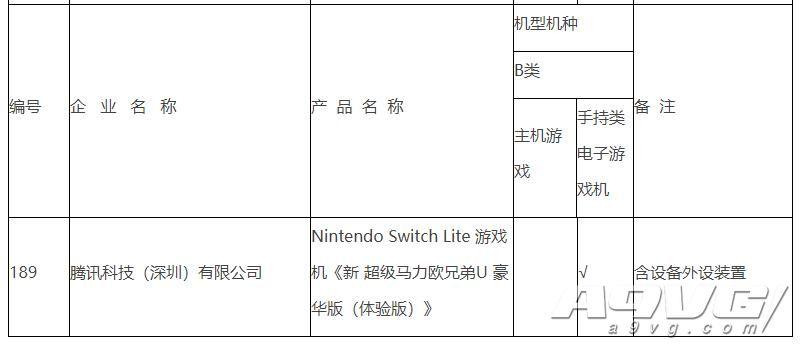 国行Switch Lite出现在审核通过公示页面中 均为腾讯代理