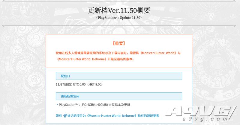 《怪物猎人世界 Iceborne》最新更新补丁将于明日推出