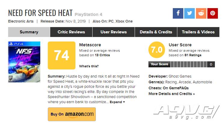 《极品飞车 热度》全球媒体评分现已解禁 IGN 8.0 MC均分74