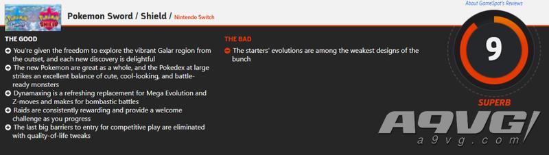 《寶可夢 劍盾》全球媒體評分現已解禁 IGN 9.3分 GS 9分