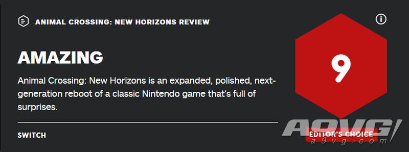《集合啦!动物森友会》全球媒体评分解禁 IGN 9分 GS 8分