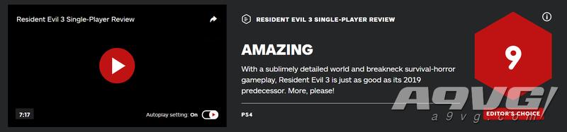 《生化危機3 重製版》全球媒體評分解禁 IGN 9分 GS 6分