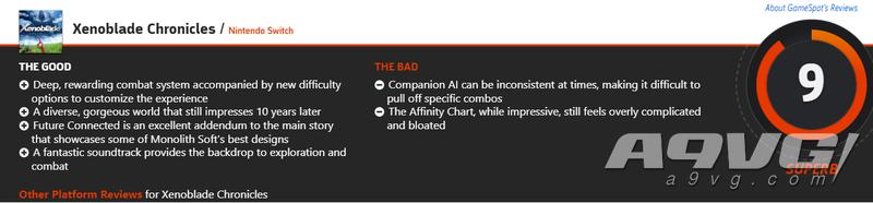 《異度神劍 終極版》媒體評分解禁 IGN 8分 GS 9分 MC均分89