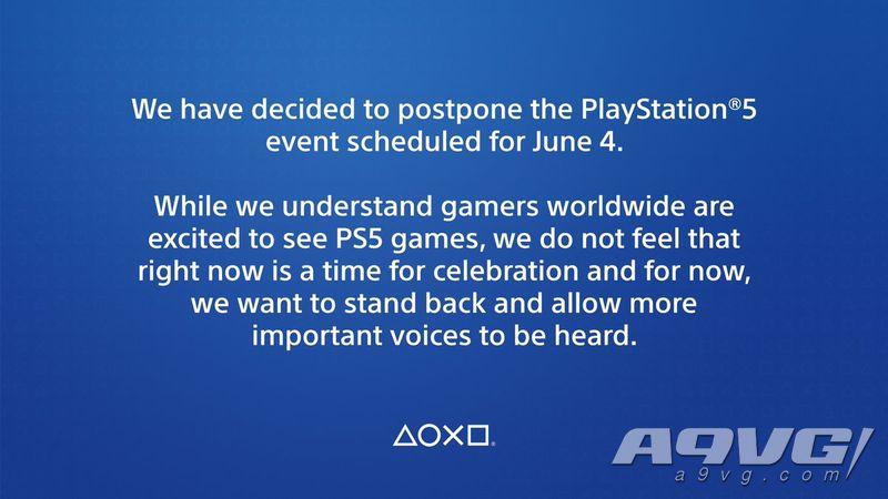 索尼宣布推遲6月5日PS5游戲發布會 讓更重要的聲音被聽到