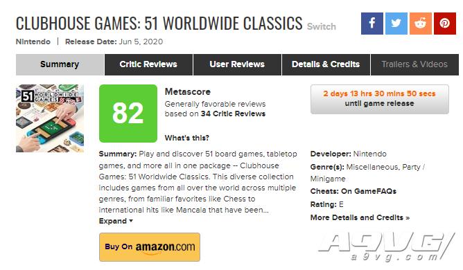 《世界游戏大全51》媒体评分解禁 VGC 8分 MC均分82