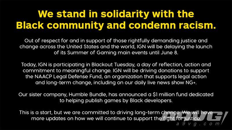 IGN游戲之夏活動推遲到6月8日開始 為黑人開發者設立發行基金