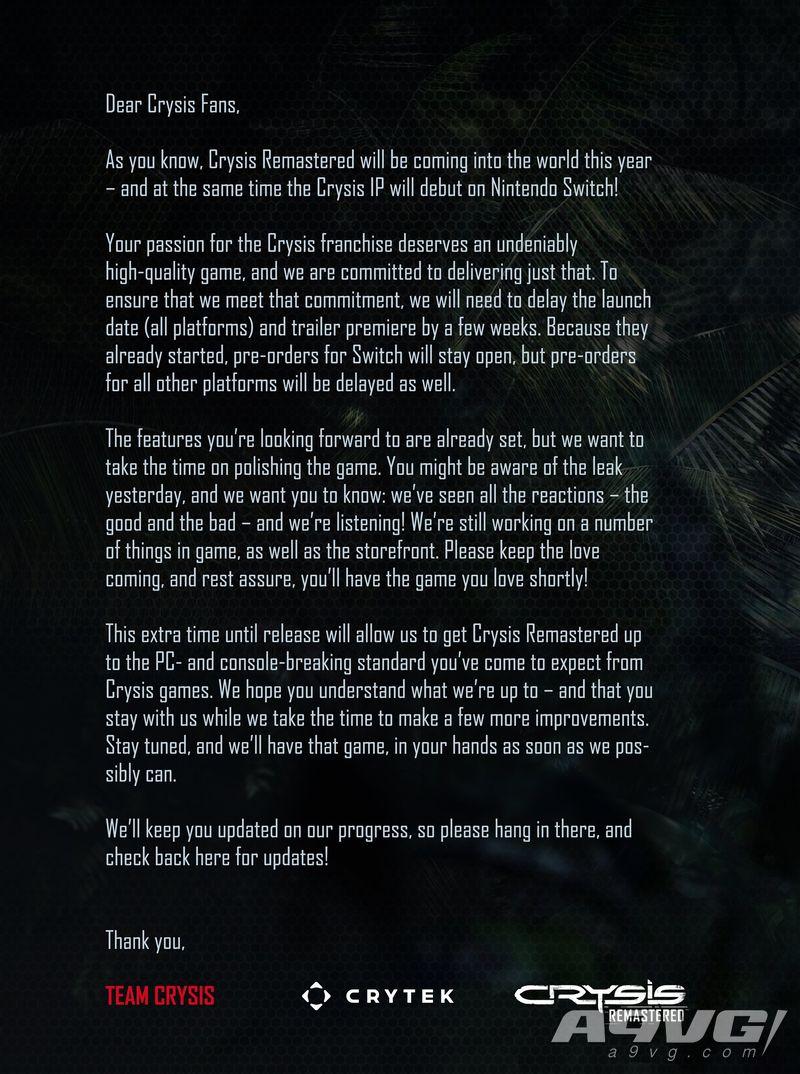 《孤岛危机 高清版》将延期数周发售 Switch版首批截图公开