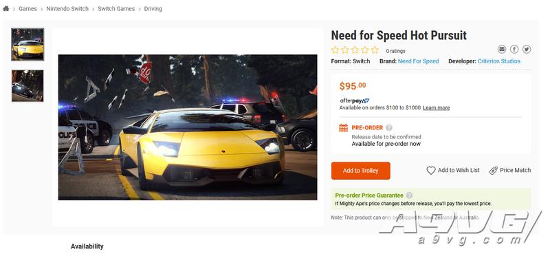零售商上架《极品飞车 热力追踪》Switch版预购页面