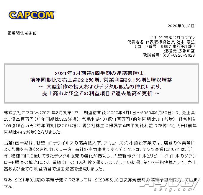 CAPCOM公开20-21财年Q1财报 数字版销售战略十分成功