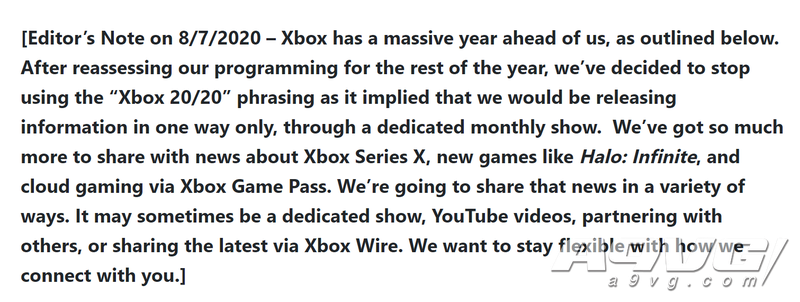 微軟悄然修改Xbox 20/20宣傳計劃 將更靈活的發布Xbox最新消息