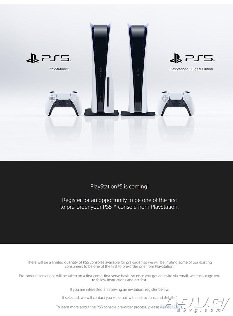 PS5美国地区预购资格申请页面上线 基于兴趣和活跃程度筛选