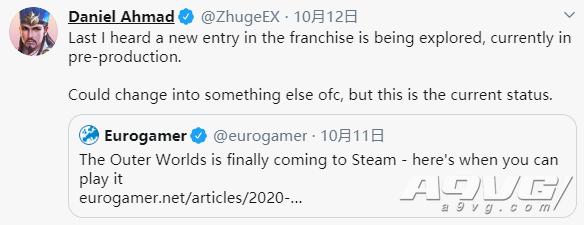 消息人士透露《天外世界》系列新作已经进入预制作阶段