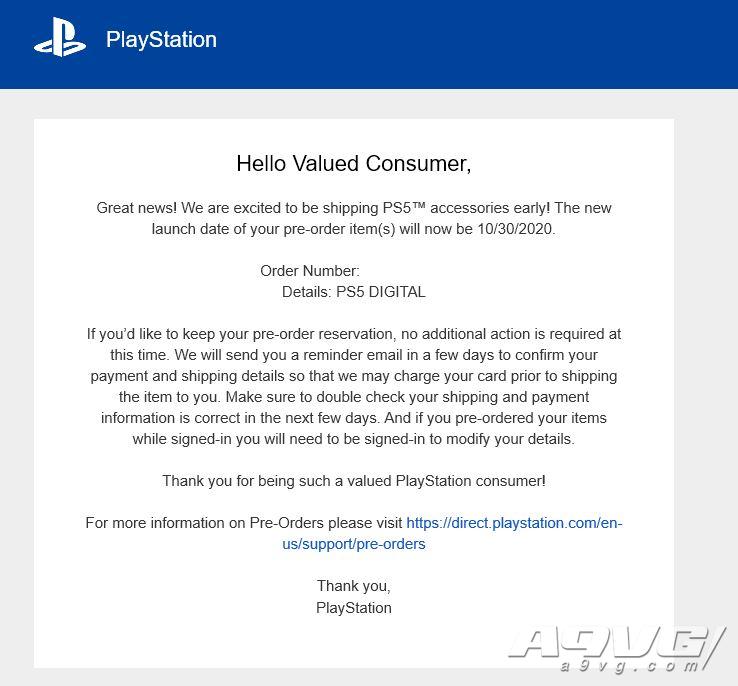 SIE预购邮件显示 PS5手柄等配件将于10月底提前出货
