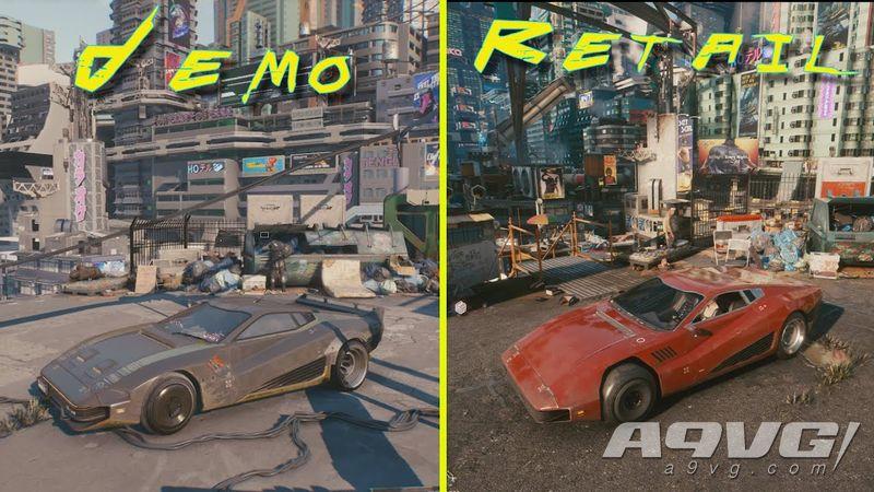 《赛博朋克2077》最终零售版与2018年演示Demo画面对比影像