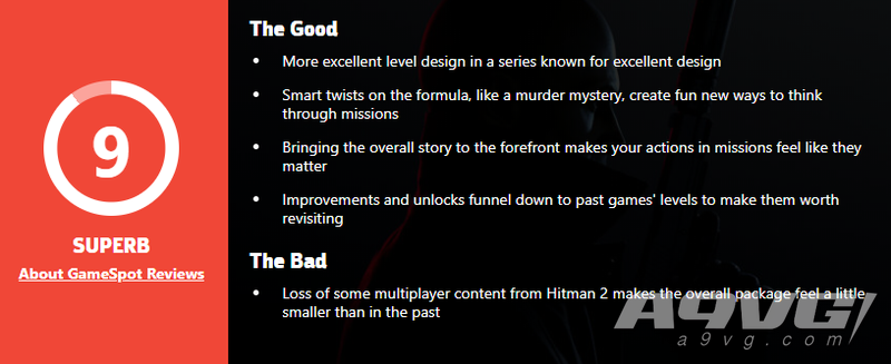 《杀手3》全球媒体评分现已解禁 IGN 9分 GS 9分