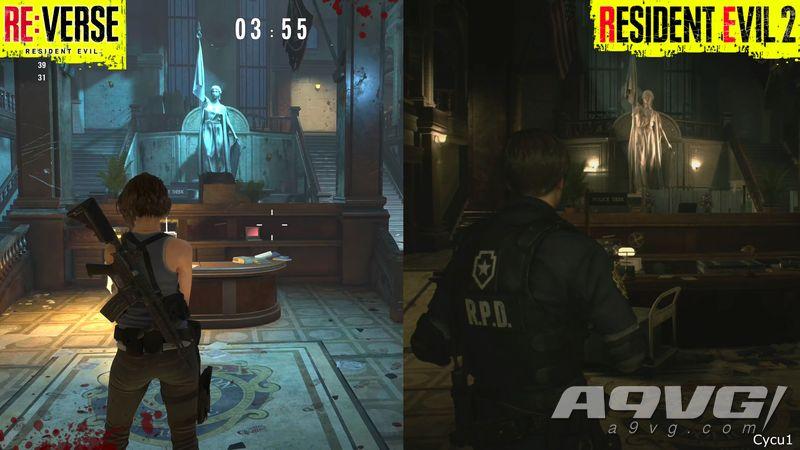 《生化危机Re:Verse》内测版与《生化2重制版》警察局场景对比