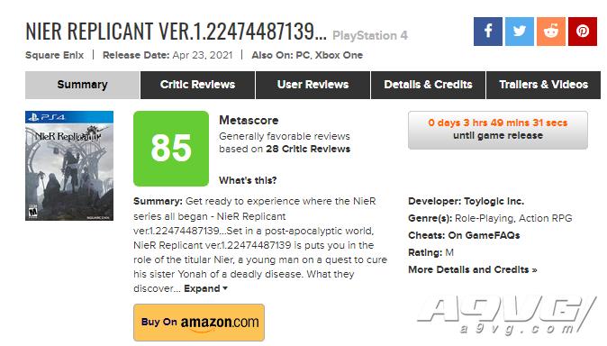 《尼尔 人工生命 升级版》全球媒体评分解禁 MC均分85