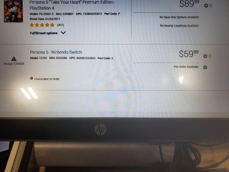 百思买员工端泄露Switch新作信息 包含《女神异闻录5》等作品