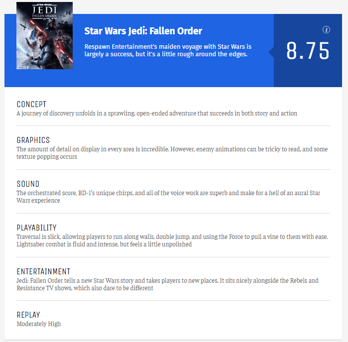 《星球大战绝地 陨落的武士团》媒体评分解禁 IGN 9分 GS 8分