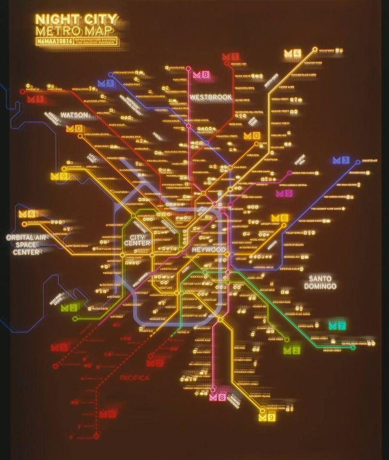 《赛博朋克2077》夜之城地图公开 还有地铁路线图