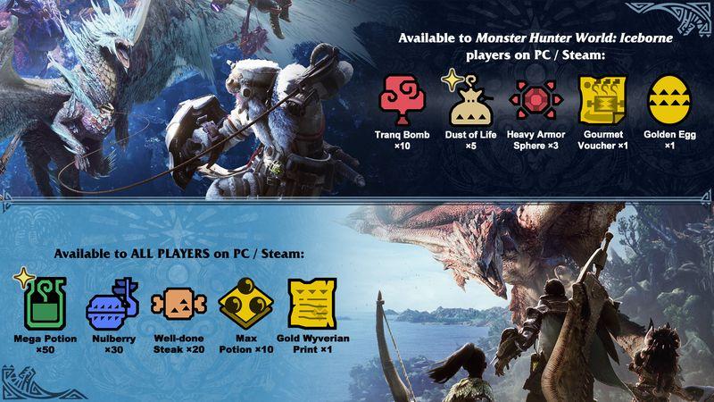 为庆祝《怪物猎人世界 冰原》PC版发售 官方配信道具礼包