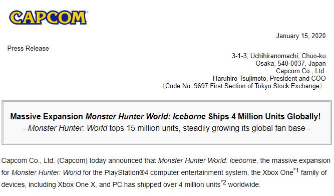 《怪物猎人世界 Iceborne》全球出货量超400万 本体出货1500万