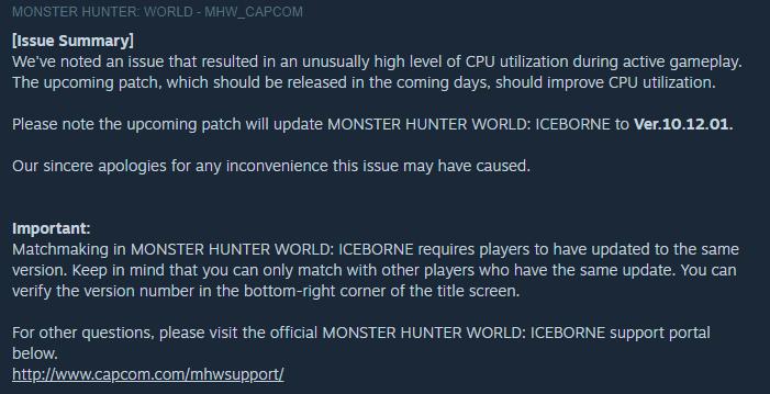 PC版《怪物猎人世界 Iceborne》将于近日推送补丁 修复CPU问题