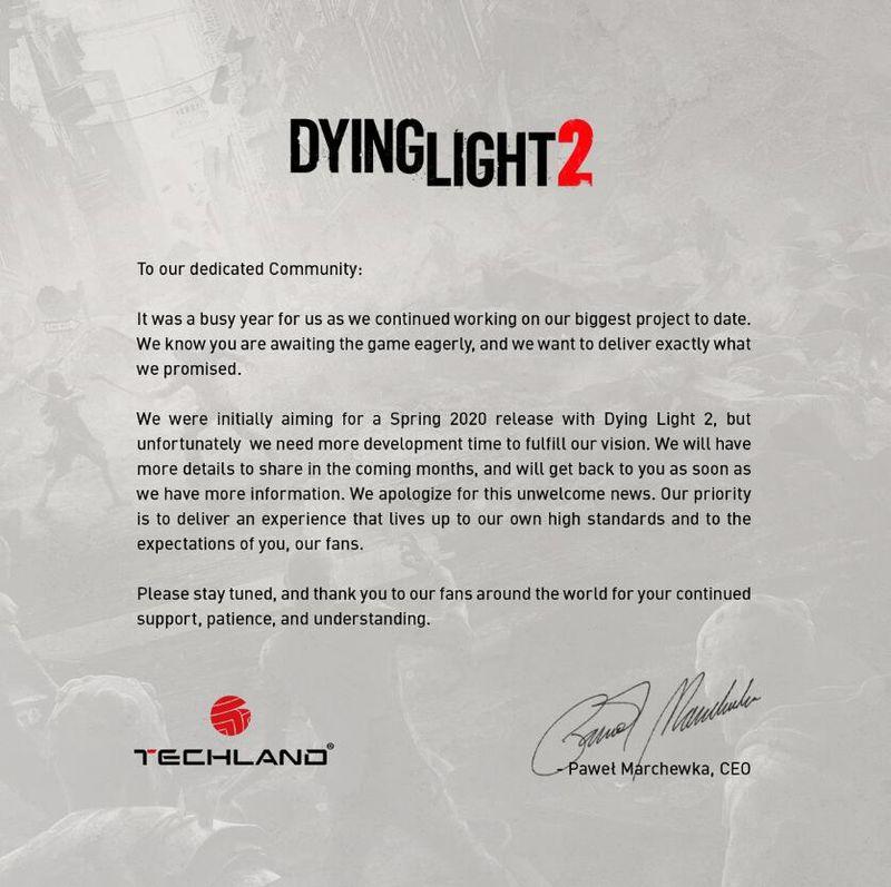 《消逝的光芒2》宣布延