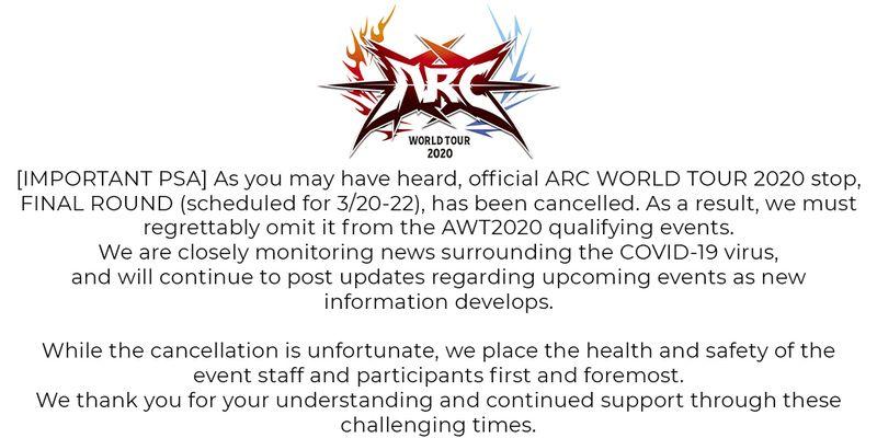 亚克系统宣布因疫情取消AWT亚特兰大3月份赛事
