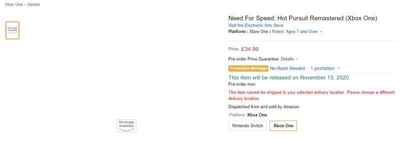 英亚上架《极品飞车 热力追踪 高清版》页面 11月13日发售