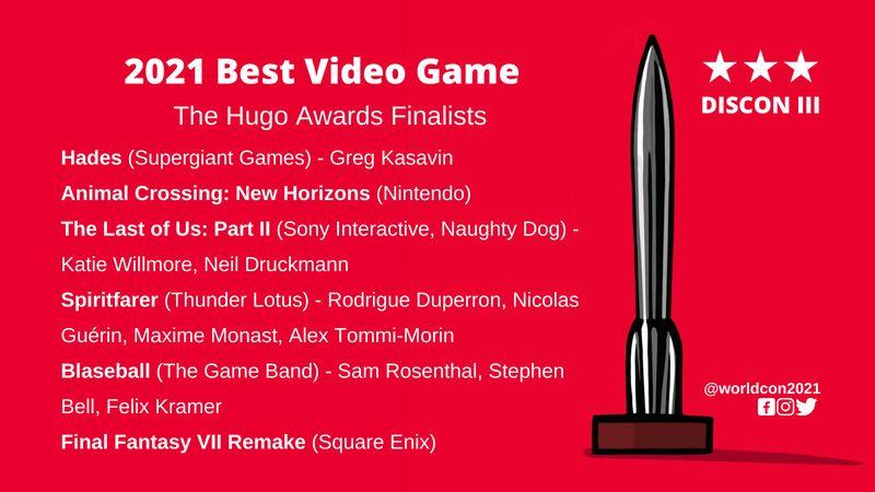 雨果奖最佳游戏提名公开 TLOU2、FF7、动森、黑帝斯等入选