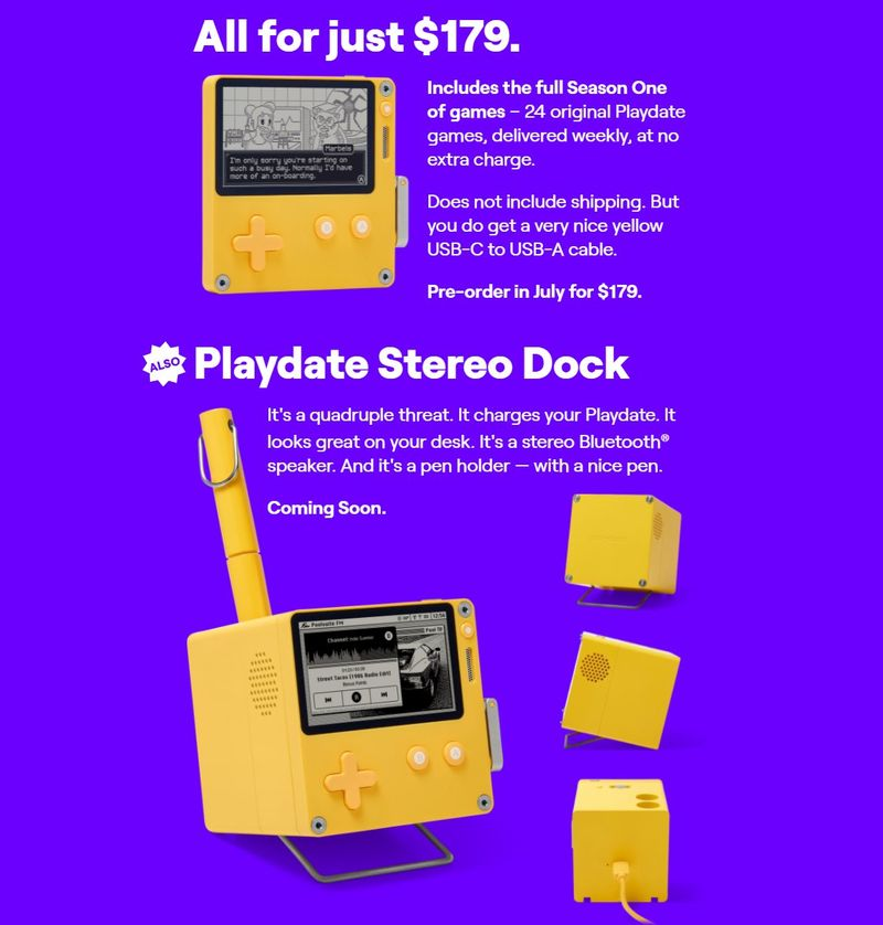 """迷你掌机""""Playdate""""179美元 附带《奥伯丁的回归》开发者新作"""