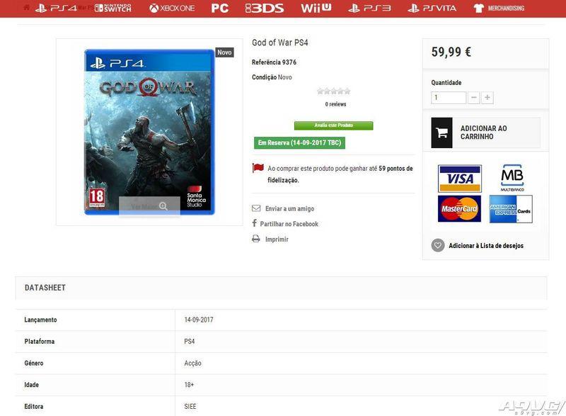 零售商网站显示《战神4》将于9月14日发售