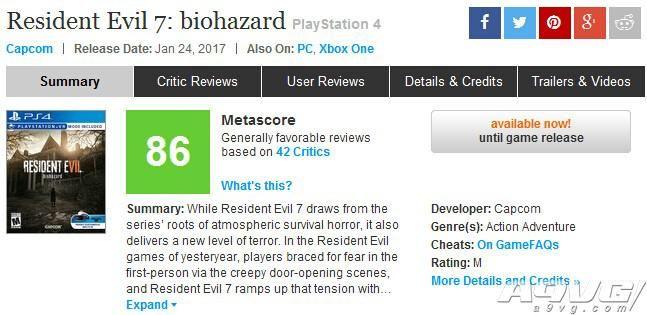 《生化危机7》媒体评分解禁:IGN 7.7分,GS 8分