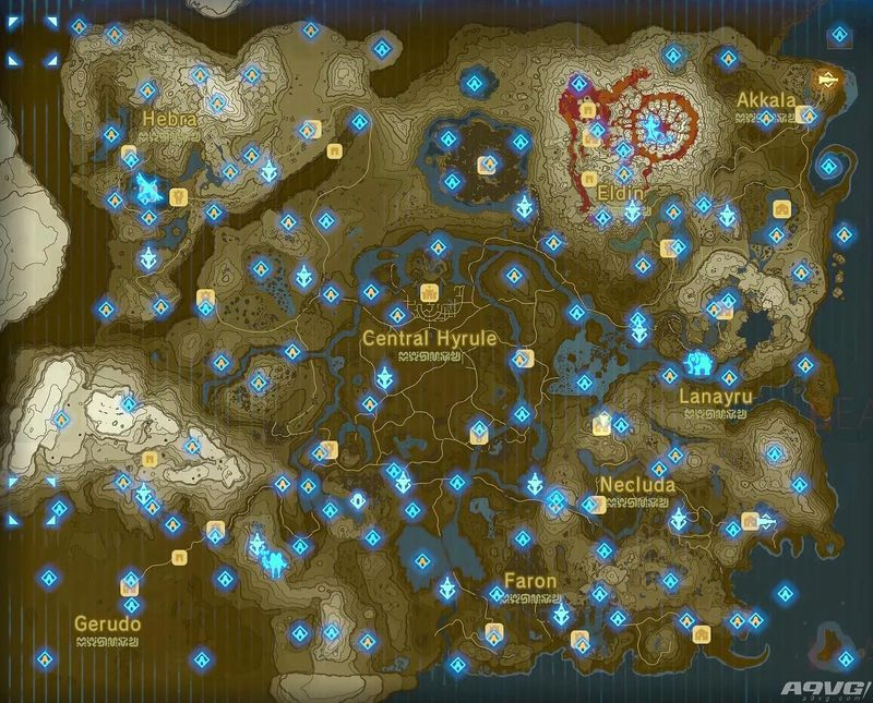 《塞尔达:荒野之息》全神庙地图位置一览