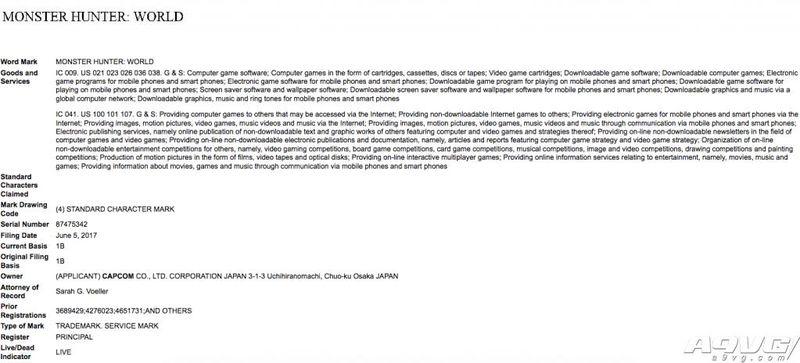 Capcom在美国注册《怪物猎人:世界》商标
