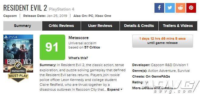 《生化危机2:重制版》MC媒体评分解禁 IGN临时改分