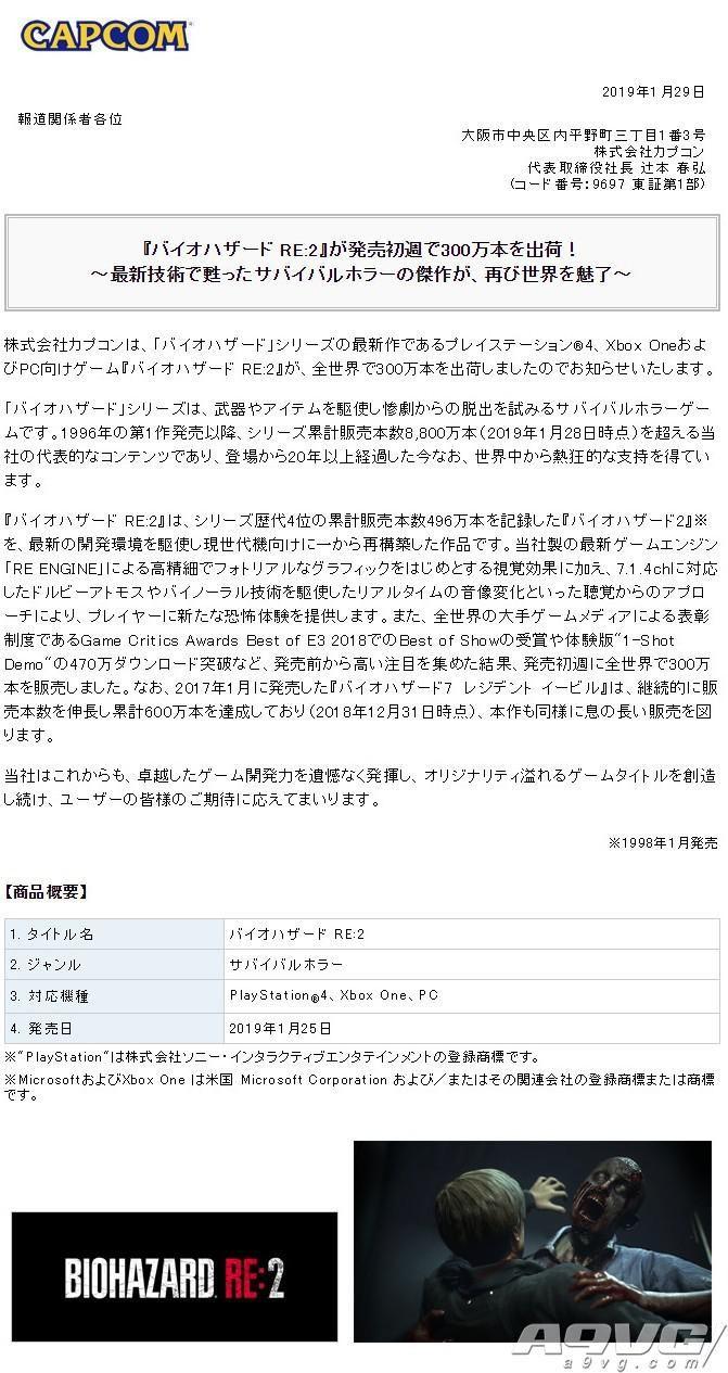 CAPCOM宣布《生化危机2 重制版》首周全球出货突破300万